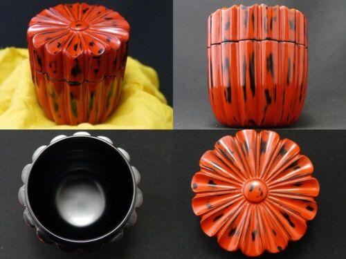 Japanese NEGORO Lacquer Wooden Tea caddy Chrysanthemum shaped Chaki (302)