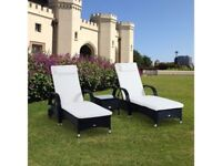 **FREE & FAST UK DELIVERY** 3 Piece Garden Rattan Lounger Daybed Furniture Set