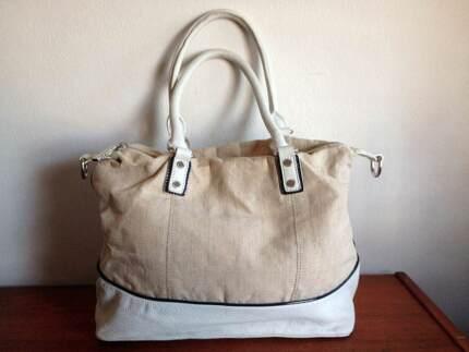 Sportscraft Leather Linen White Taupe Navy Shoulder Tote Bag