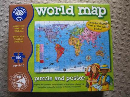 World felt map toys indoor gumtree australia maroochydore area orchard toys world map jigsaw gumiabroncs Images