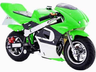 Mototec Gbmoto Gas Pocket Bike 40Cc 4 Stroke Green Kids Ride Mini Motorcycle