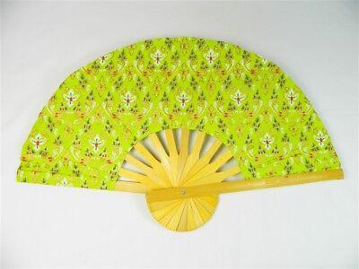 Handheld Fan - Folding Bamboo Fan - Thai Leaf Fabric - Light Green