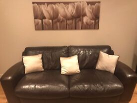 Brown Leather Sofa - 2 x 3-Seaters
