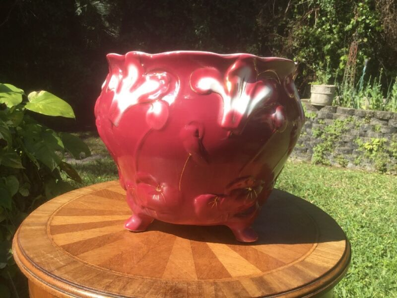 Planter Antique Cache Pot Planter Art Nouveau Majolica Planter c1920
