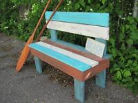 DISTRESSED CEDAR RUSTIC BENCH