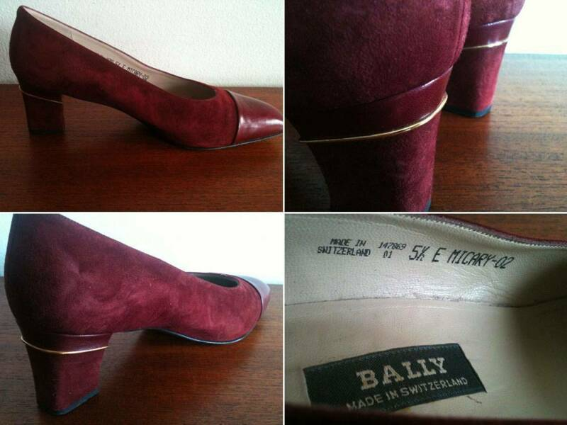 d7062187f792d Vintage BALLY 5.5E Court Pumps Burgundy 100% Leather Suede Heels ...