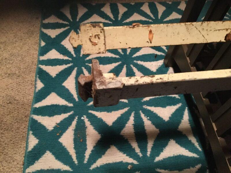Diamond Slot Pin Cast Iron Bed  Rails, Vintage Old Antique