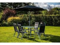 **FREE & FAST UK DELIVERY** Outdoor 8-Piece Black Folding Garden Dining Set w/ Parasol