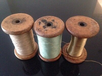 3 Vintage Antique Industrial Wooden Bobbins Reels with Thread, Gold & Green