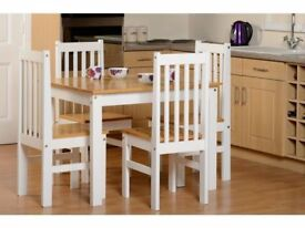 *FAST & FREE UK DELIVERY* Seconique Oak and White 5 Piece Kitchen Dining Set - BRAND NEW
