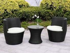 **FREE & FAST UK DELIVERY** 3 Piece Vase Rattan Garden Conservatory Set