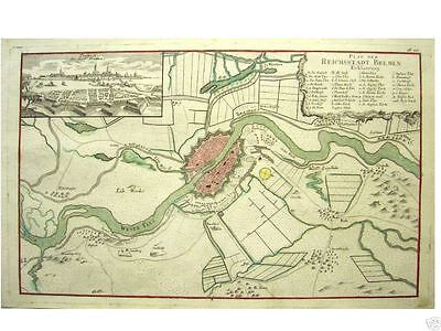 1 Orig altkolor. Kupferstich v Raspe 1763 BREMEN PROSPEKT