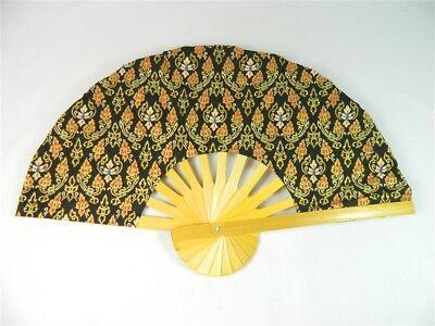 Handheld Fan - Folding Bamboo Fan - Thai Leaf Fabric - Black
