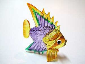 Coastal Style MINIATURE HAND BLOWN Art GLASS Fish FIGURINE Collection # 19