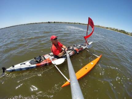 Glide Dreamer sit in kayak with Outrigger/Paddle(Rottnest Swim)