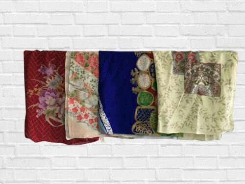 VINTAGE JAPANESE FUROSHIKI (WRAPPING CLOTHS) ANTIQUE NAPKINS, LOT OF 4, FLORALS