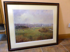 Framed, signed Donald M Shearer print of Carnoustie golf course