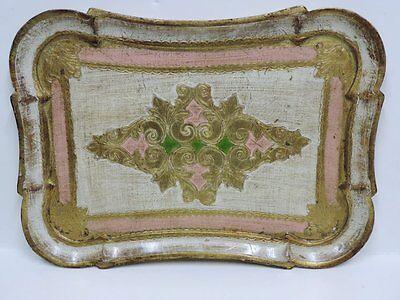 Vintage Florentine Gold Gilt Rectangular Serving Tray Pink Green Italy