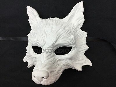 Diy Wolf Mask (DIY Masquerade White Wolf mask Halloween Haunted House Burning Man costume)