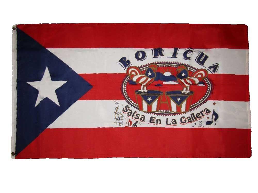 3x5 Puerto Rico Boricua Salsa En La Gallera Premium Flag 3'