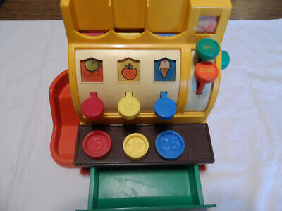 VINTAGE FISHER PRICE TOY CASH REGISTER # 925 W/3 COINS 1974 USA USED VG