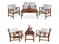**FREE & FAST UK DELIVERY** Natural Acacia Wood Outdoor 4-Piece Garden Lounge Chairs & Table Set