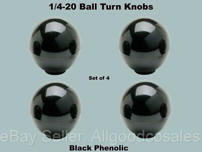 14-20 Ball Turn Knobs Set Of 4 Internal Female Insert Thread Black Phenolic