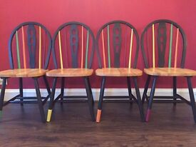 Lovely, trendy, hand painted, cool chairs, one-offs,
