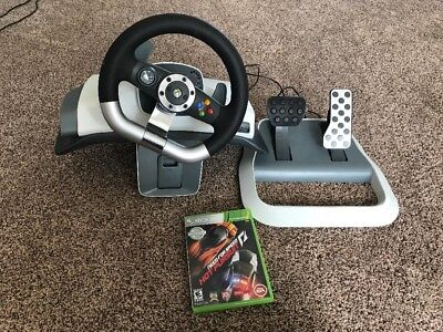 Microsoft Xbox 360 Wireless Racing Wheel with Pedals + Table Mount + Game! for sale  Shipping to Canada