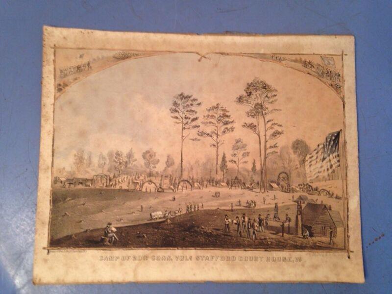 Antique Lithograph Camp Of 20th Connecticut Volunteers Civil War Era