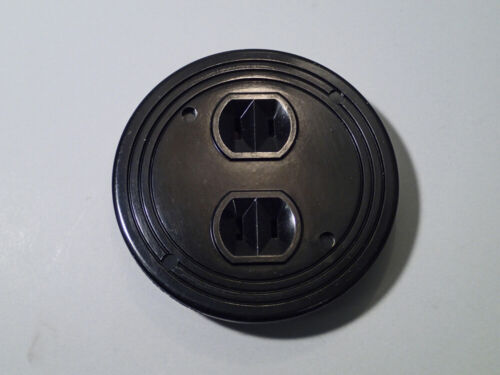 Antique Round Bakelite Electric Outlet Plate and Sockets vintage home