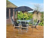 **FREE & FAST UK DELIVERY** Outdoor 8 Piece Black Table, Parasol & Chairs Garden Dining Set
