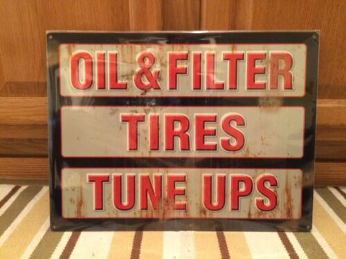 Oil Filter Tires Tune Ups Garage Shop Mancave Gas Oil Vintage Look Bottle Wall