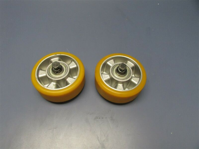 New Lot of 2 Yellow Rubber Casters / Wheels w/ Bearings