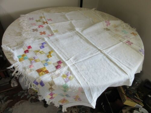 2 vintage embroidered dresser doilies. Geometric pattern