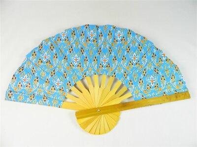 Handheld Fan - Folding Bamboo Fan - Thai Leaf Fabric - Light Blue