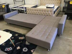 Grey Fabric 5 Seater Sofa Bed Couch Loung (SP034) Clayton South Kingston Area Preview