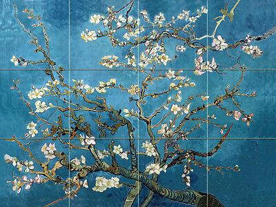 Art van Gogh Blossoming Almond Tumbled Marble Mural Backsplash Bath Tile #2158