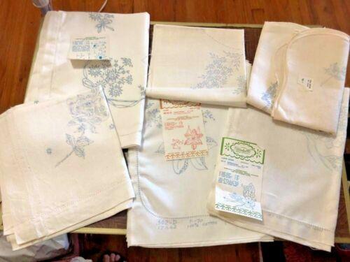 6 Vintage Stamped Embroidery Dresser Scarf Lot Linen& Cotton Unfinished