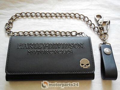 Harley Davidson Skull Tri Fold Deluxe Geldbeutel Geldbörse Kette 99443-16VM online kaufen