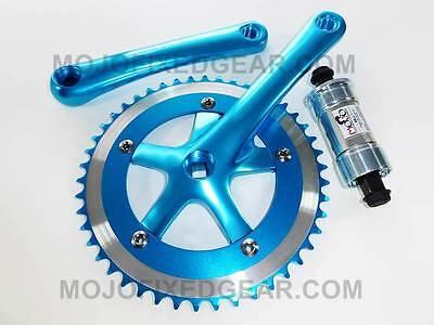 Blue Fixed gear Crankset w/ bottom bracket - 165mm 46t cranks track fixie (Fixed Gear Bottom Bracket)