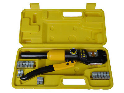 10-ton Hydraulic Crimping Wire Battery Cable Crimper Lug Terminal Tool W 9 Dies