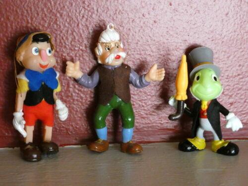 Vintage Christmas Felt Flocked Walt Disney Pinocchio Ornament Lot