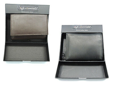 RFID Blocking Tri-fold Genuine Cow Hide Leather Wallet In Wallet Box