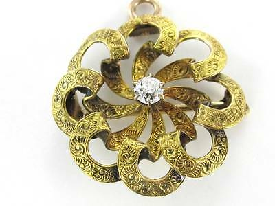 14K KARAT SOLID YELLOW GOLD PIN BROOCH VINTAGE CHRISTMAS DIAMOND PENDANT FLORAL