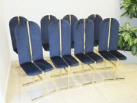 8 Roche Bobois Hollywood regency style art deco velvet and brass vintage dining chairs 1970s/1980s