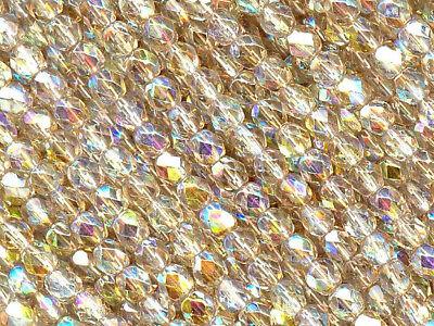 300 Preciosa Czech Glass Fire Polished Beads 6mm Crystal Lemon Rainbow coated