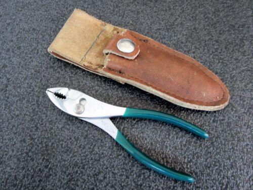 "Vintage Diamond Tools 5"" Slip Joint Pliers K14 Green Handles Leather Holster USA"