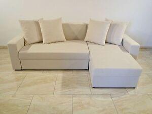 Promotion Elegant Cream Corner Sofa Bed Tom With 2