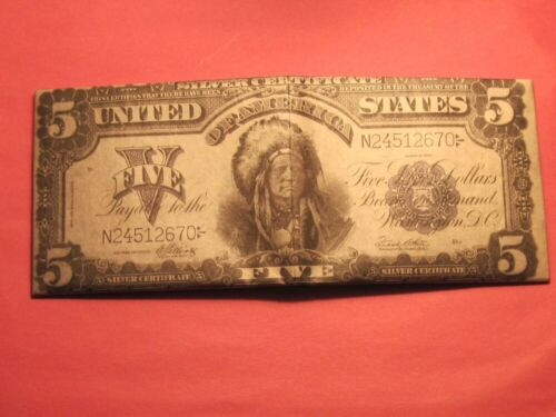 1899 $5 Five Dollar Silver Certificate Note (( Money Wallet for CC Cash & ID ))